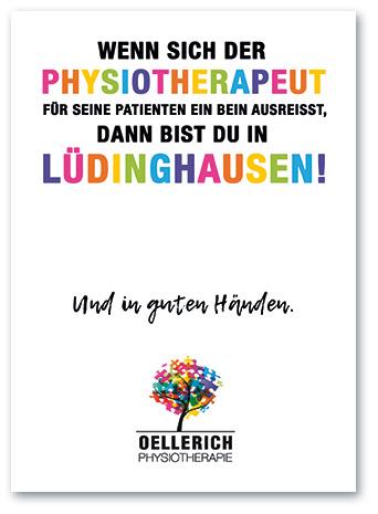 Postkarte: »Wenn sich der Physiotherapeut für seine Patienten ein Bein ausreißt, dann bist du in Lüdinghausen« Oellerich Physiotherapie