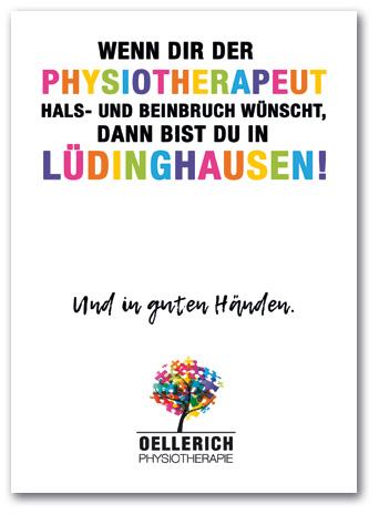 Postkarte: »Wenn dir der Physiotherapeut Hals- und Beinbruch wünscht, dann bist Du in Lüdinghausen.« Oellerich Physiotherapie