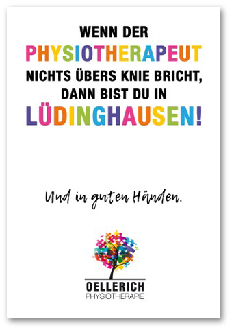 Postkarte: »Wenn der Physiotherapeut nichts übers Knie bricht, dann bist Du in Lüdinghausen« Oellerich Physiotherapie
