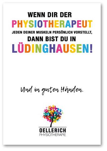 Postkarte: »Wenn dir der Physiotherapeut jeden deiner Muskeln persönlich vorstellt, dann bist du in Lüdinghausen« Oellerich Physiotherapie
