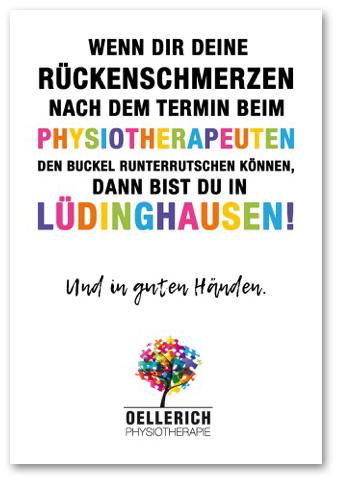 Postkarte »Wenn dir deine Rückenschmerzen nach dem Termin beim Physiotherapeuten den Buckel runterrutschen können, dann bist du in Lüdinghausen« Oellerich Physiotherapie